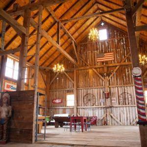 inside of restored barn