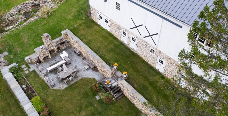 aerial view of restored barn and farmyard