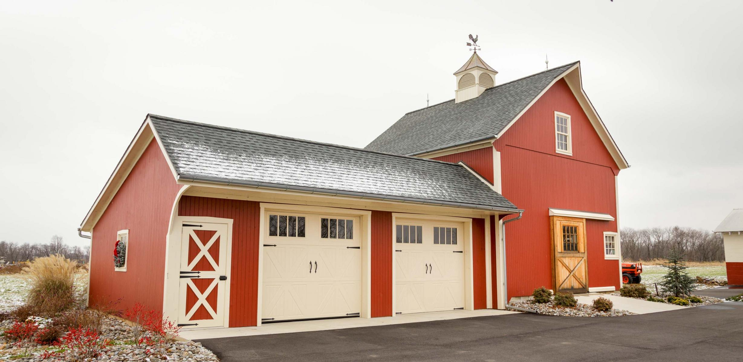Restored barn with attached garage.