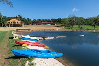 Pond and boats at Fox Run Farm & Retreat