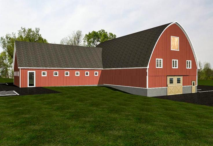 3D images of the plans for the spinning mill barn