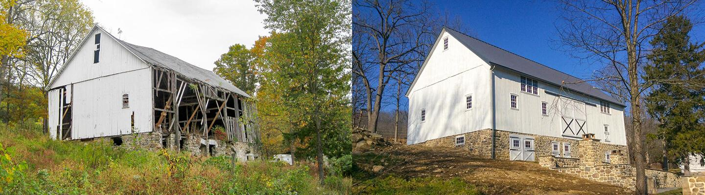 The before / after pictures of this restored barn.