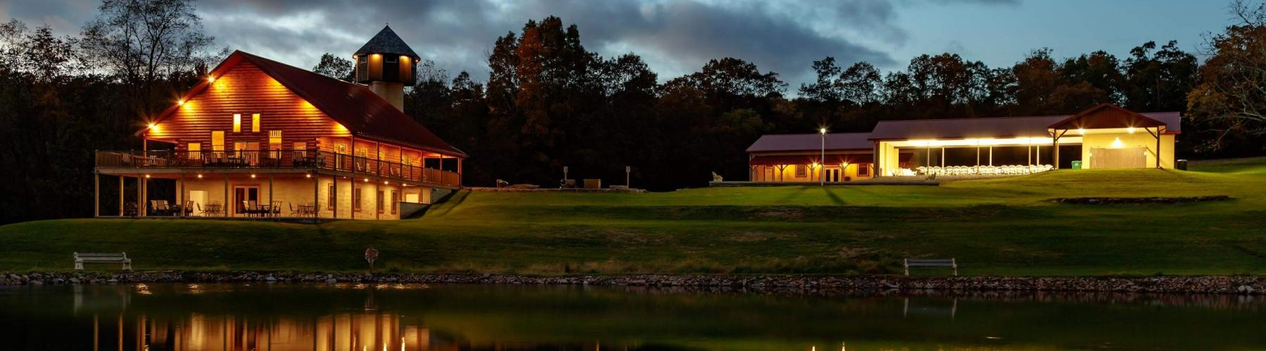 Fox Run Wedding and Retreat center at night