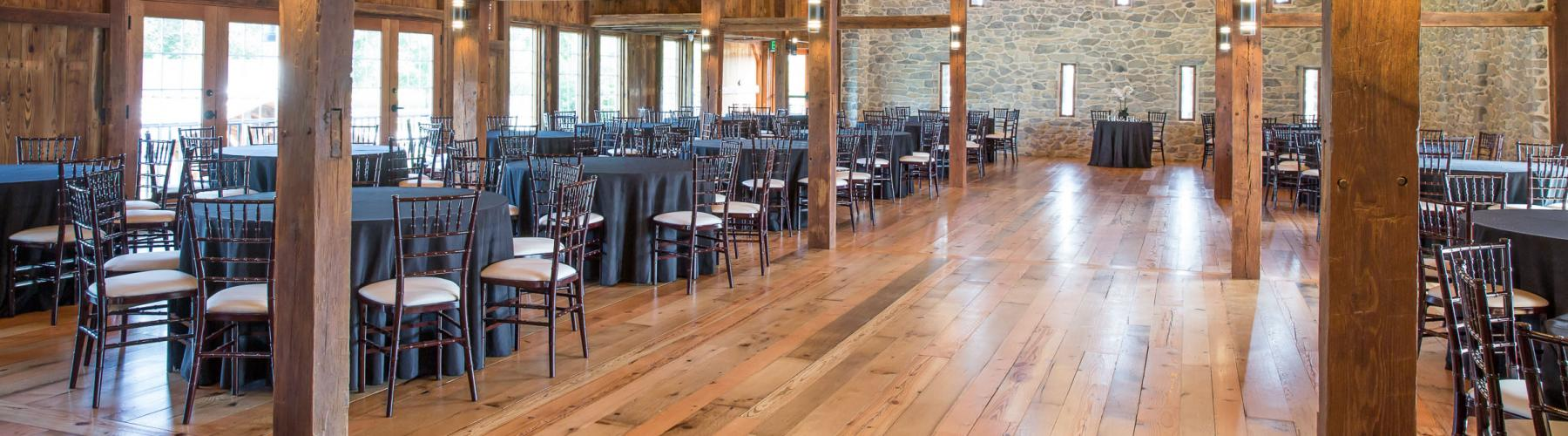 Interior of wedding and event barn